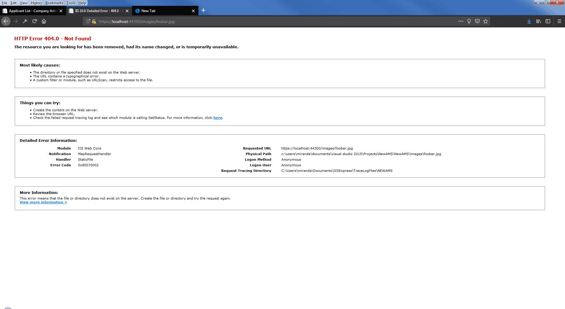 default iis 404 error page